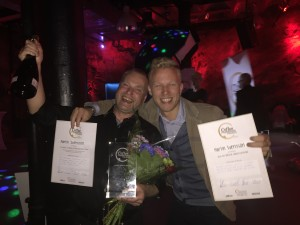 Glädjescener efter tredjeplatsen i Coffee Professional Cup 2015